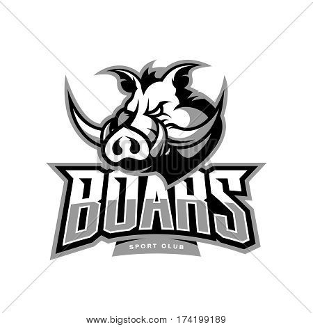 Furious boar sport club vector logo concept isolated on white background. Web infographic team pictogram design. Premium quality wild animal t-shirt tee print illustration.