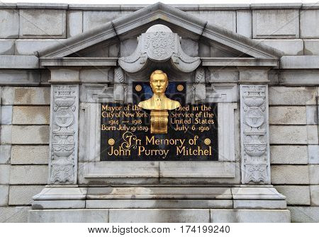 NEW YORK - MAR 28: Granite and bronze monument of Mayor John Purroy Mitchel on Mar 28, 2016 in New York. Dedicated in 1928, it is located at Engineers' Gate entrance in Central Park.