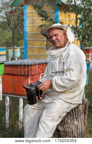Beekeeper in an apiary. Apiculture Beehive apiarist