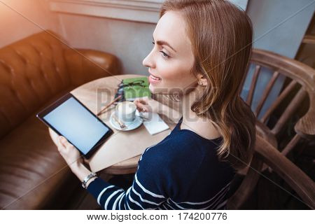 Close Up Of Womens Hand Holding Digital Tablet With Blank Copy Space Screen For Your Advertising Tex