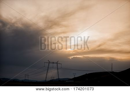 Dramatic storm clouds at the sunset ,near Deva,Romania