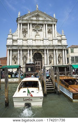 VENICE ITALY - June 13 2016: A view of Chiesa di Santa Maria di Nazareth (Church of the Scalzi Chiesa degli Scalzi) Venice Italy June 13 2016