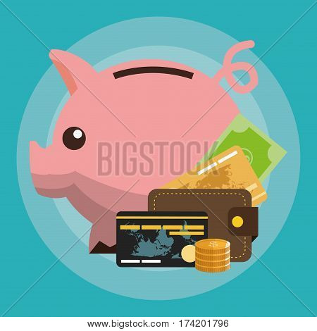 cash credit cards and piggy bank money related icons vector illustration design