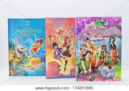 Hai, Ukraine - February 28, 2017: Animated Disney Movies Cartoon Production Book Sets Fairy On White
