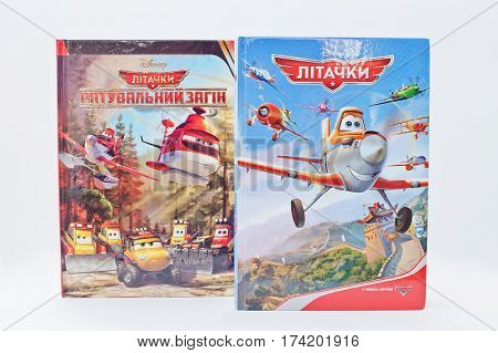 Hai, Ukraine - February 28, 2017: Animated Disney Movies Cartoon Production Book Sets Planes On Whit