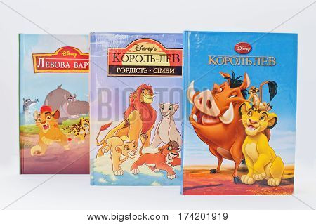 Hai, Ukraine - February 28, 2017: Animated Disney Movies Cartoon Production Book Sets Lion King On W