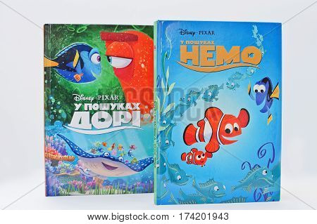 Hai, Ukraine - February 28, 2017: Animated Disney Movies Cartoon Production Book Sets Finding Dory A
