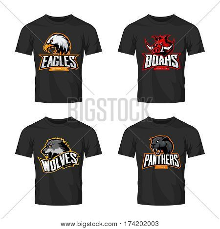 Furious panther, wolf, eagle and boar sport vector logo concept set isolated on black t-shirt mockup.  Modern team pictogram design. Premium quality wild animal and bird head t-shirt tee print illustration