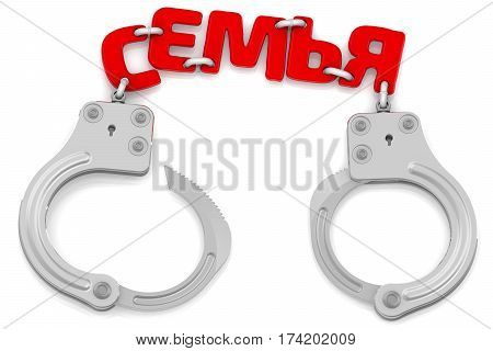 Family as limiter of freedom. Steel handcuffs with red word