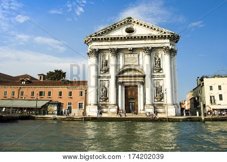 VENICE ITALY - June 16 2016: Santa Maria del Rosario (St Mary of the Rosary I Gesuati) Dominican church in the Sestiere of Dorsoduro on the Giudecca canal in Venice Italy June 16 2016
