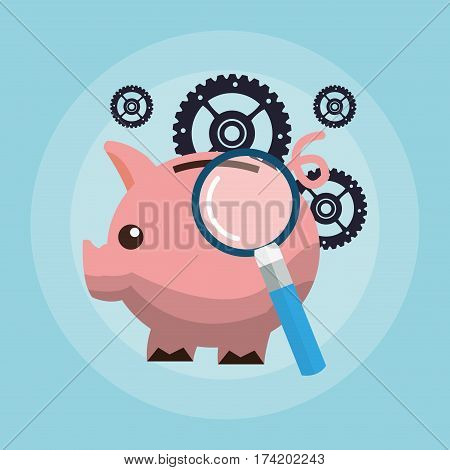 piggy bank with magnifying glass and gears money related icons image vector illustration design