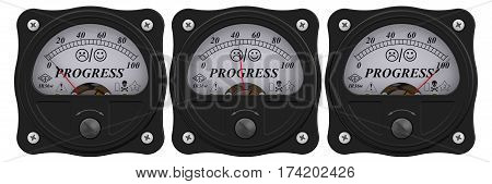 Progress indicator. Analog indicator showing the level of progress. 3D Illustration. Isolated