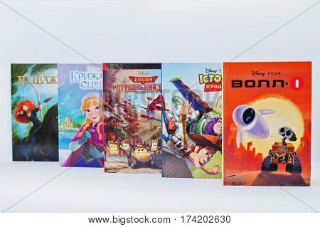 Hai, Ukraine - February 28, 2017: Animated Disney Movies Cartoon Production Book Sets On White Backg