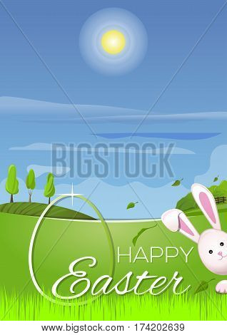 Beautiful spring landscape, cute Easter bunny, Easter egg in the young green spring grass. Greeting card. Happy Easter. Symbols of Easter celebration. Vector illustration