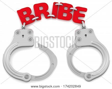 Punishment for receiving or giving bribes. Steel handcuffs with red word