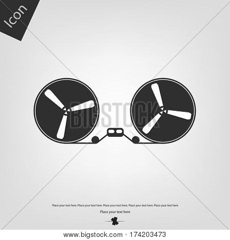 Old reel recorder vector icon, gray background. Vector illustration.