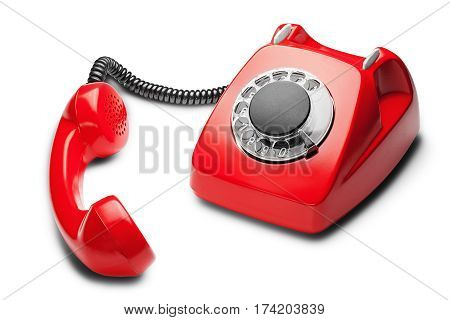 Landline Red  Phone On A Isolated White Background