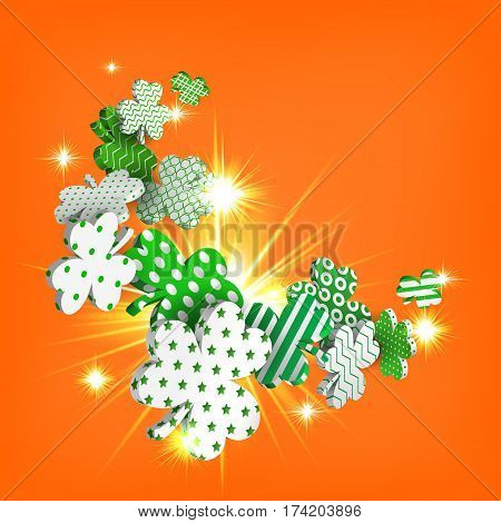 Happy St. Patrick's Day. 3d model falling leaf clover. Abstract background of shamrocks. Isolated element. Irish decor for websites, banners, cards, posters, flyers, advertising. Vector illustration