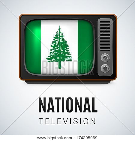 Vintage TV and Flag of Norfolk Island as Symbol National Television. Tele Receiver with flag design