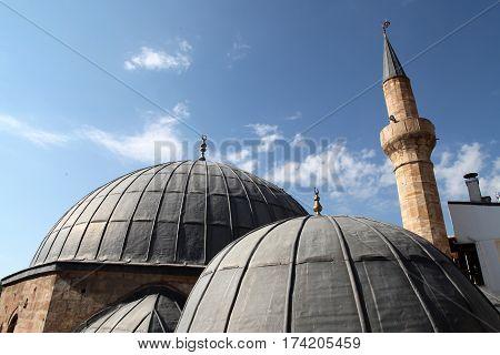 Historical Mosque and minaret in Beypazari, Ankara, Turkey