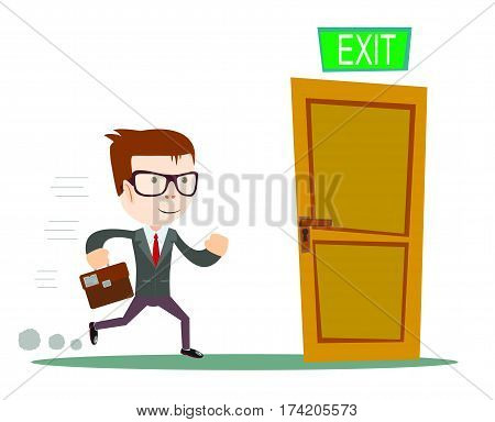 Exit. Businessman running to opened door. Stock vector illustration