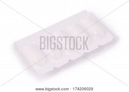Pack of medical suppositories isolated on white background. Photo with clipping path