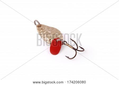 Yellow fishing bait isolated on white background with soft shadow