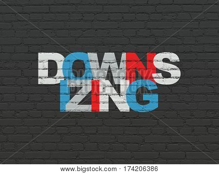 Finance concept: Painted multicolor text Downsizing on Black Brick wall background