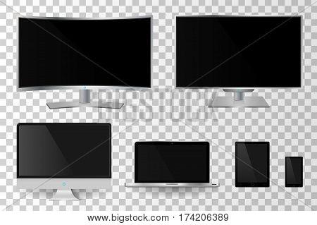 Realistic Mettalic Modern Tv Monitor Isolated. Vector Illustration
