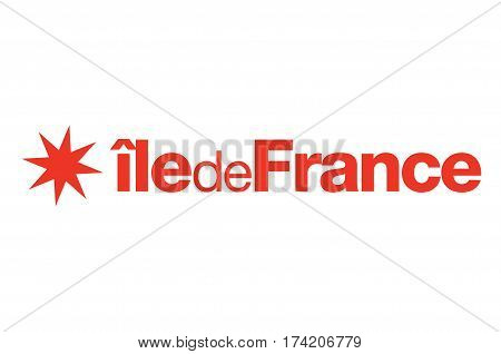 Flag of Ile-de-France also known as the region parisienne is one of the 18 regions of France and includes the city of Paris.