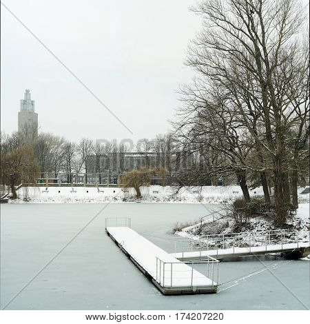 Lake in the city park of Magdeburg in winter