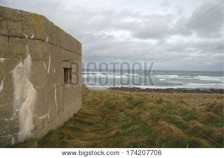 WWII pill box atop a hill overlooking the sea in Aberdeenshire, Scotland