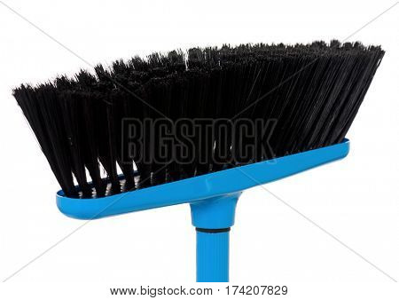 Blue plastic broom, isolated on white background