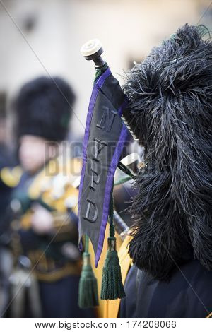 NEW YORK - JAN 13 2017: NYPD Det. Steven McDonald funeral procession and service at St Patricks Cathedral, 5th Avenue, Manhattan - NYPD Pipes and Drums of the Emerald Society.