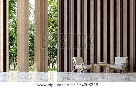 Modern peaceful living room in the forest 3D Rendering Image minimalist style white marble floor decorated wall with wood lattice. Walls can open a window with a twist for looking out to experience nature up close.