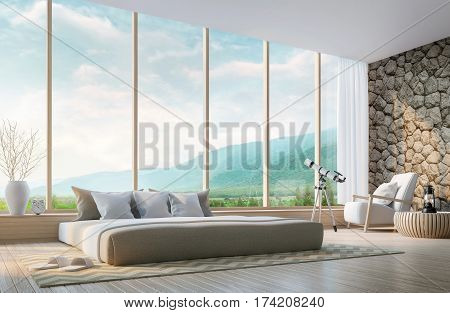 Modern bedroom with mountain view 3d rendering Image. Decorated wall with natural stone. There are large windows overlooking the surrounding nature and mountains