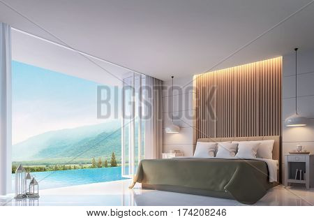 Modern Bedroom with mountain view 3d rendering Image. There are border less swimming pool. There are large open doors overlooking the surrounding nature and mountains