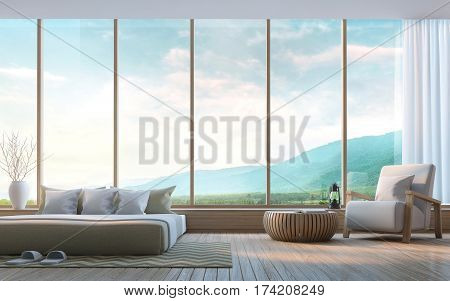 Modern bedroom with mountain view 3d rendering Image. There are large windows overlooking the surrounding nature and mountains