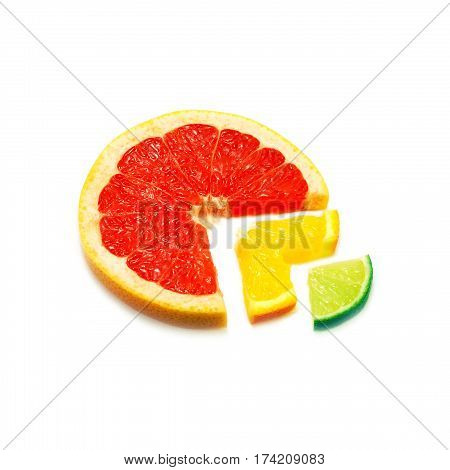 Cut nested slices of various fresh citrus fruit isolated on white