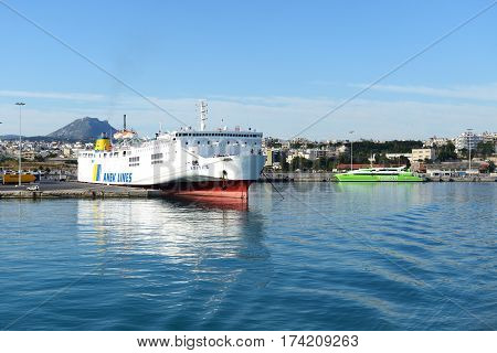 HERAKLION GREECE - MAY 17: The speed ferry going to Santorini island on May 17 2014 in Heraklion Greece. The ferry transports thousands passengers daily.