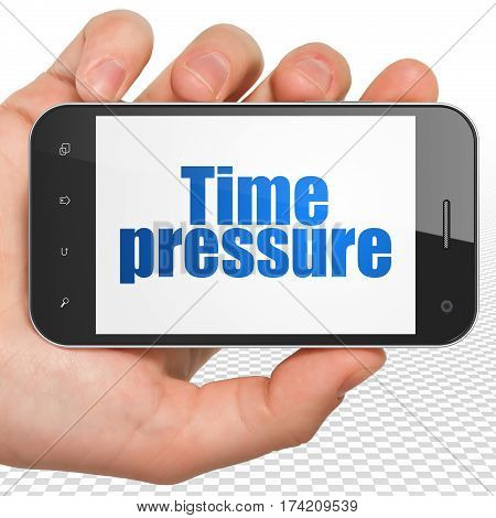 Timeline concept: Hand Holding Smartphone with blue text Time Pressure on display, 3D rendering