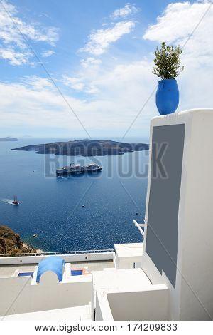 The view on Aegean sea and cruise ship Santorini island Greece