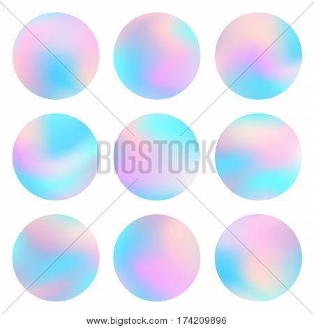 Holographic Round Frames Set Circle Background Pastel 2