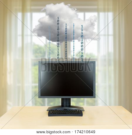Concept image of a desktop monitor and keyboard connected to applications in the cloud computing internet with feeling of relaxation and zen