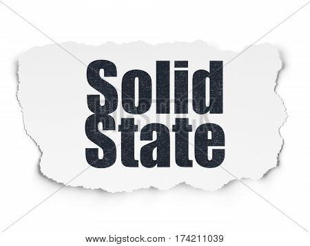 Science concept: Painted black text Solid State on Torn Paper background with  Tag Cloud