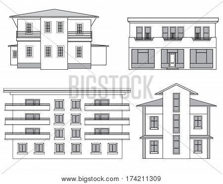 Houses. Building facade set. Cottage facade line collection