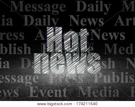 News concept: Glowing text Hot News in grunge dark room with Dirty Floor, black background with  Tag Cloud