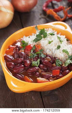 Rice and red kidney beans, brazilian staple food meal