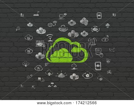 Cloud networking concept: Painted green Cloud icon on Black Brick wall background with  Hand Drawn Cloud Technology Icons