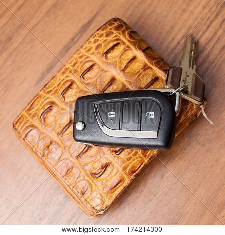 Wallet And Key Fob By Car